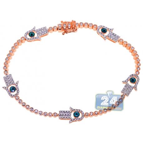 Womens Diamond Hamsa Hand Tennis Bracelet 14K Rose Gold 1.60ct