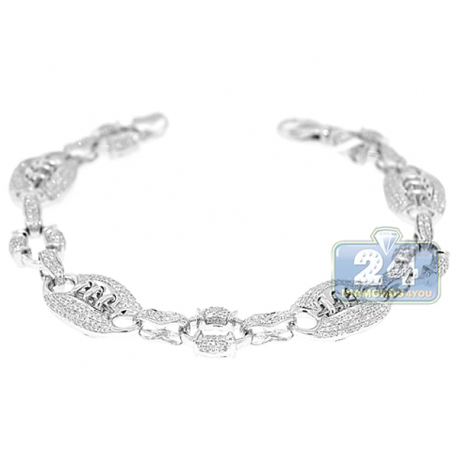 Mens Diamond American Football Bracelet 14K White Gold 2.50 ct