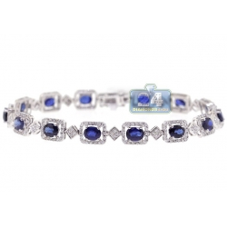 Womens Diamond Blue Sapphire Halo Tennis Bracelet 18K White Gold