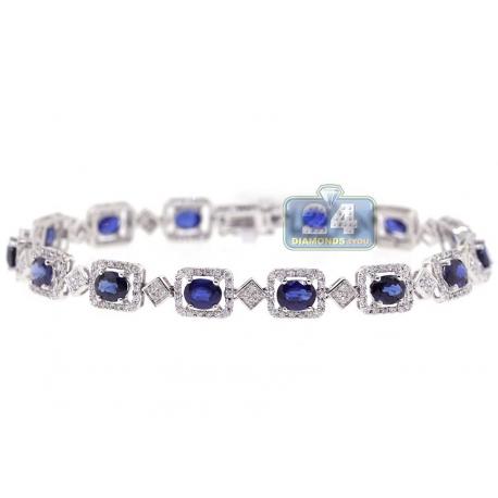 Womens Diamond Blue Sapphire Halo Tennis Bracelet 18K White Gold