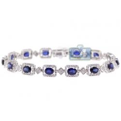 18K White Gold 8.14 ct Diamond Sapphire Halo Tennis Bracelet