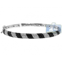 14K White Gold 2.25 ct Diamond Zebra Round Bangle Bracelet