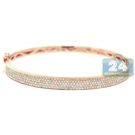 Womens Diamond Round Bangle Bracelet 18K Rose Gold 1.20 ct 7.5""