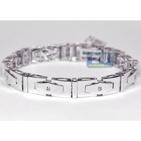 "Mens Diamond Slim Link Bracelet 14K White Gold 0.32 ct 8.5"""
