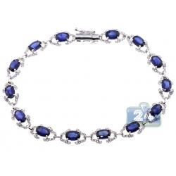 18K White Gold 8.73 ct Diamond Blue Sapphire Halo Bracelet