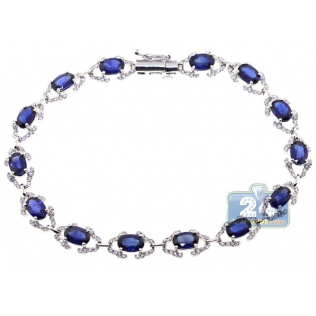 Womens Diamond Blue Sapphire Halo Bracelet 18K White Gold 8.73 ct
