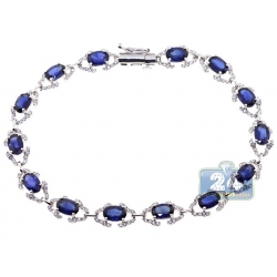 18K White Gold 8.73 ct Diamond Blue Sapphire Halo Bracelet