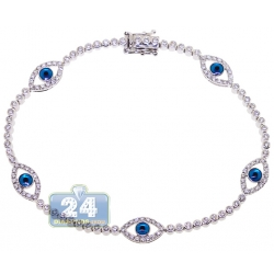 14K White Gold 1.55 ct Diamond Evil Eye Tennis Bracelet 7.5 Inches