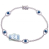 Womens Diamond Evil Eye Tennis Bracelet 14K White Gold 1.55ct 7.5""