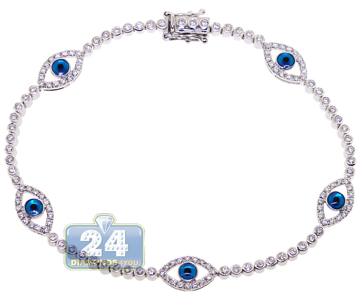 14k White Gold 1 55 Ct Diamond Evil Eye Tennis Bracelet 7 5 Inches