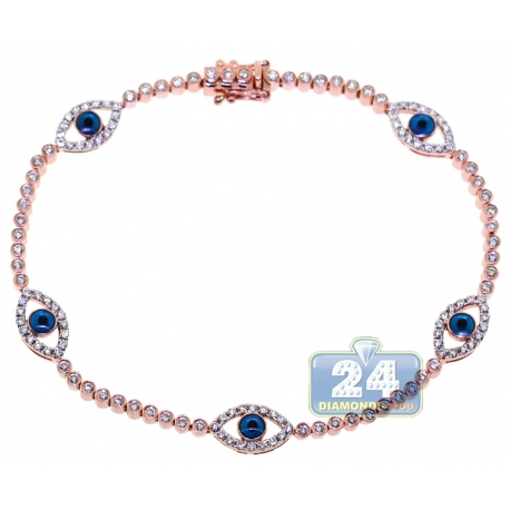 Womens Diamond Evil Eye Tennis Bracelet 14K Rose Gold 1.55ct 7.5""