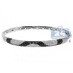 "Womens Black Diamond Bangle Bracelet 14K White Gold 1.80 ct 6.5"""