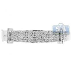 Womens Diamond Pave Round Bangle Bracelet 14K White Gold 3.44 ct