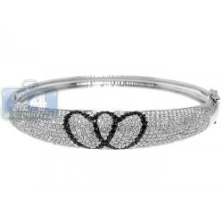 Womens Black Diamond Heart Bangle Bracelet 14K White Gold 3.8ct