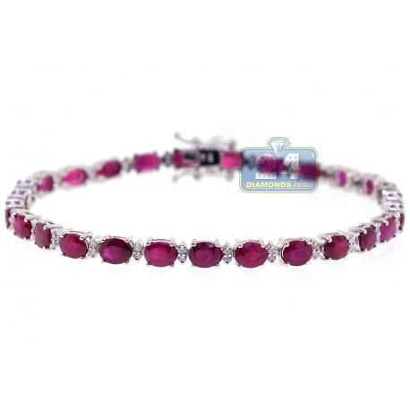 Womens Oval Ruby Diamond Tennis Bracelet 18K White Gold 11.17 ct