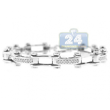 Mens Diamond Bicycle Link Bracelet 14K White Gold 0.93 ct 9""