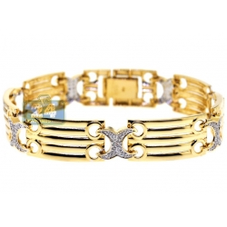 14K Yellow Gold 0.75 ct Diamond X Link Womens Bracelet