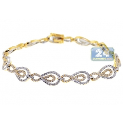 14K Yellow Gold 2.47 ct Diamond Infinity Link Womens Bracelet