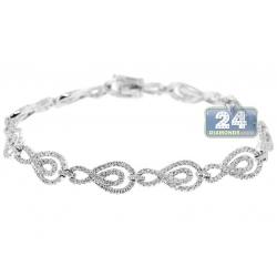 14K White Gold 2.46 ct Diamond Infinity Link Womens Bracelet