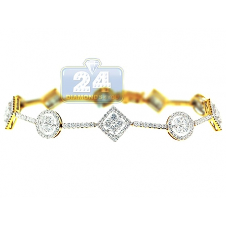 Womens Diamond Geometric Halo Bracelet 14K Yellow Gold 3.16 ct