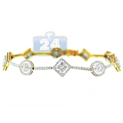 14K Yellow Gold 3.16 ct Diamond Geometric Halo Bracelet