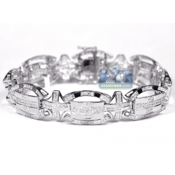 10K White Gold 3.22 ct Diamond Oval Link Mens Bracelet 8.75 Inch