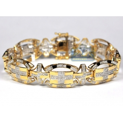 10K Yellow Gold 3.20 ct Diamond Oval Link Mens Bracelet 8.75 Inch