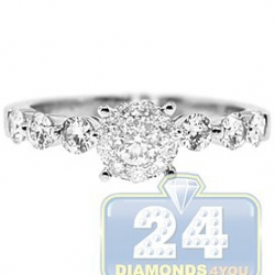 14K White Gold 0.87 ct Diamond Vintage Engagement Ring