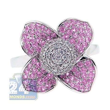 14K White Gold 1.30 ct Diamond Pink Sapphire Flower Cocktail Ring