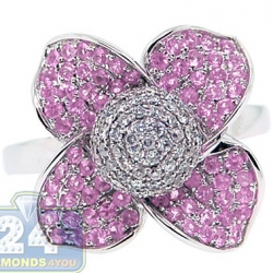 14K White Gold 1.30 ct Diamond Pink Sapphire Flower Ring