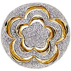 14K Yellow Gold 1.02 ct Diamond Womens Round Flower Ring