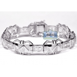10K White Gold 3.71 ct Diamond Pave Link Mens Bracelet 8.5 Inch