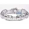 Mens Diamond Pave Link Bracelet 10K White Gold 3.71ct 15mm 8.5""