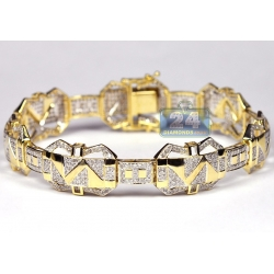 10K Yellow Gold 3.67 ct Diamond Pave Link Mens Bracelet 8.5 Inch