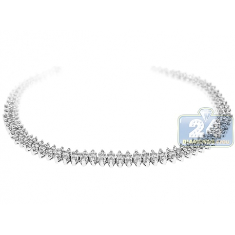 Womens Diamond Marquise Shape Tennis Bracelet 14K White Gold 7""