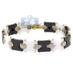 14K Yellow Gold Ceramic 1.00 ct Diamond Link Mens Bracelet