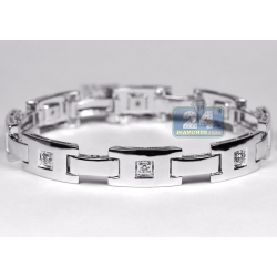 14K White Gold 0.51 ct Diamond Slim Link Mens Bracelet 8 1/4 Inch