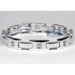 14K White Gold 0.51 ct Diamond Slim Link Mens Bracelet 8 1/4 Inch