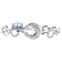 14K White Gold 1.11 ct Diamond Fancy Circle Link Womens Bracelet