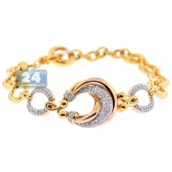 14K Yellow Gold 1.12 ct Diamond Fancy Circle Womens Bracelet