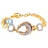Womens Diamond Fancy Circle Link Bracelet 14K Yellow Gold 1.12ct