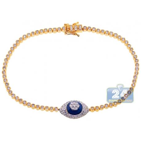 Womens Diamond Cluster Evil Eye Tennis Bracelet 14K Yellow Gold