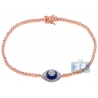 Womens Diamond Cluster Evil Eye Tennis Bracelet 14K Rose Gold