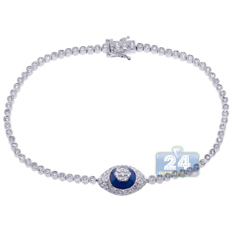 Womens Diamond Cluster Evil Eye Tennis Bracelet 14K White Gold