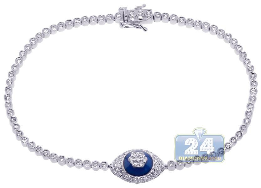 14k White Gold 1 47 Ct Diamond Cer Evil Eye Tennis Bracelet
