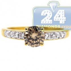 14K Yellow Gold 1.16 ct Brown Diamond Womens Engagement Ring