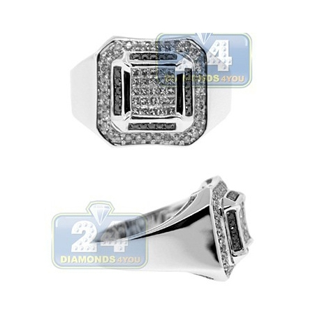 14K White Gold 0.80 ct Black Diamond Mens Square Ring