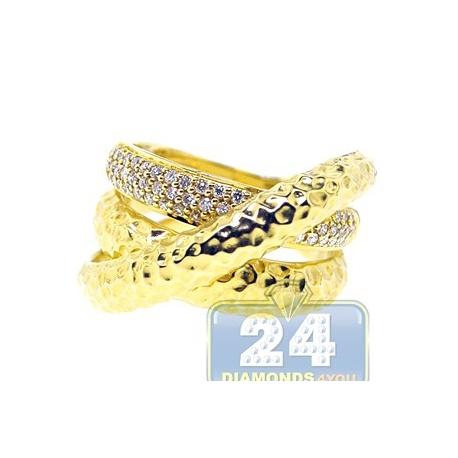 14K Yellow Gold 0.30 ct Diamond Womens Bamboo Triple Ring