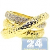 14K Yellow Gold 0.30 ct Diamond Womens Bamboo Triple Ring