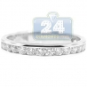 14K White Gold 0.77 ct Diamond Womens 3 mm Wedding Band Ring